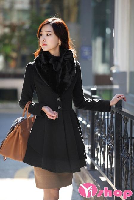 Áo khoác dạ nữ dáng xòe đẹp ấm áp tới công sở thời thượng thu đông 2021 - 2022