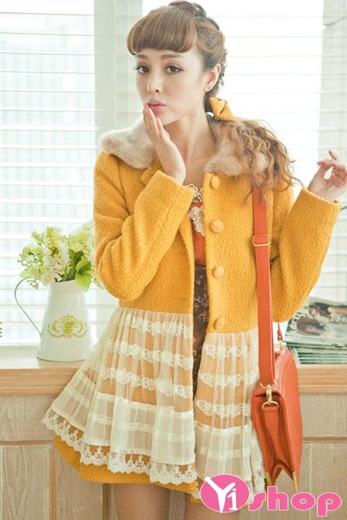 Áo khoác dạ nữ dáng xòe đẹp thu đông 2021 - 2022 ấm áp ngày đại hàn