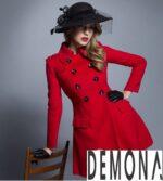 Áo khoác dạ nữ dáng xòe màu đỏ đẹp quyến rũ thu đông 2021 – 2022