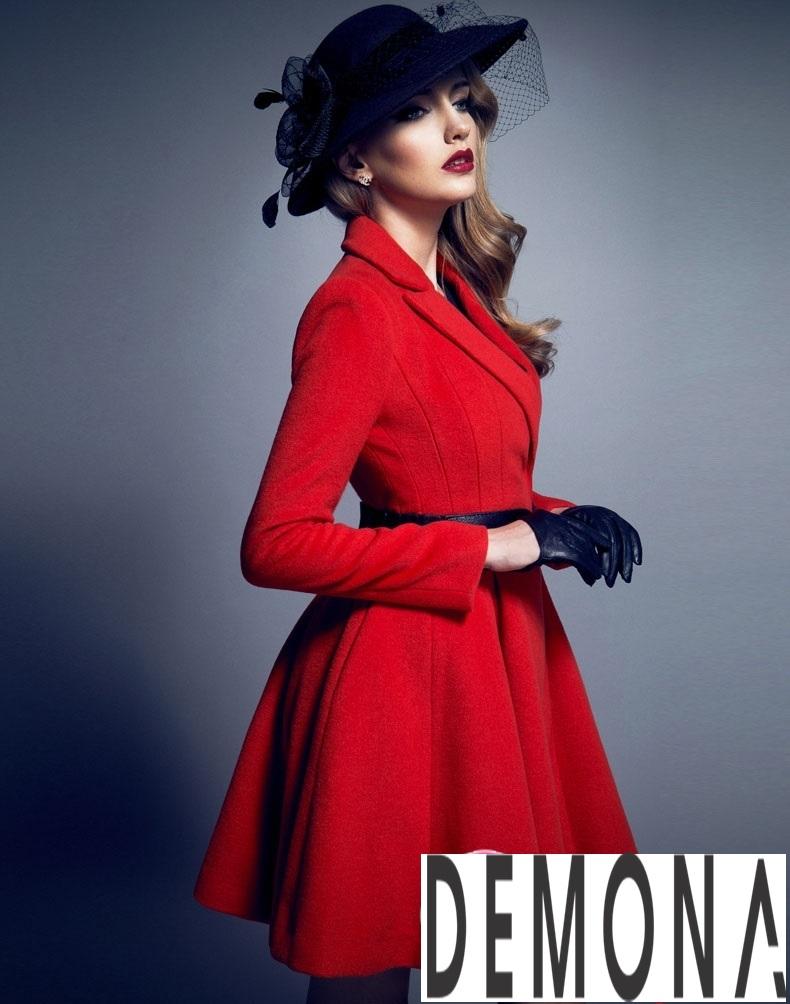 Áo khoác dạ nữ dáng xòe màu đỏ đẹp quyến rũ thu đông 2021 - 2022 phần 5
