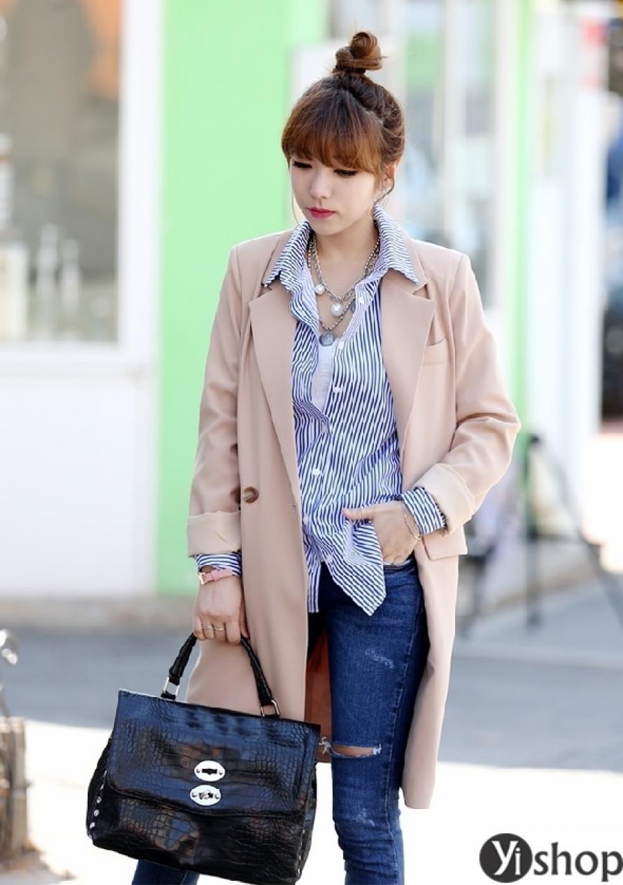 Áo khoác dạ nữ đẹp kiểu Hàn Quốc ấm áp tới công sở thu đông 2021 - 2022