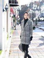 Áo khoác dạ nữ kẻ caro đẹp thu đông 2021 – 2022 kiểu hàn quốc không lạnh