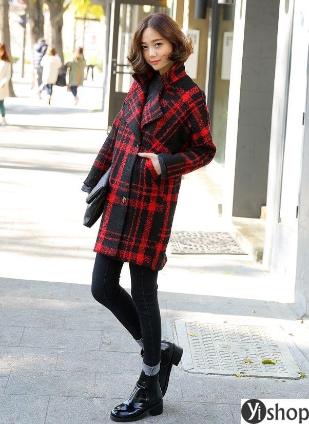 Áo khoác dạ nữ kẻ caro đẹp xu hướng thời trang công sở thu đông 2021 - 2022 phần 1