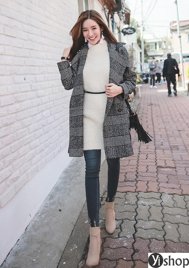 Áo khoác dạ nữ kẻ caro đẹp xu hướng thời trang công sở thu đông 2021 - 2022 phần 10
