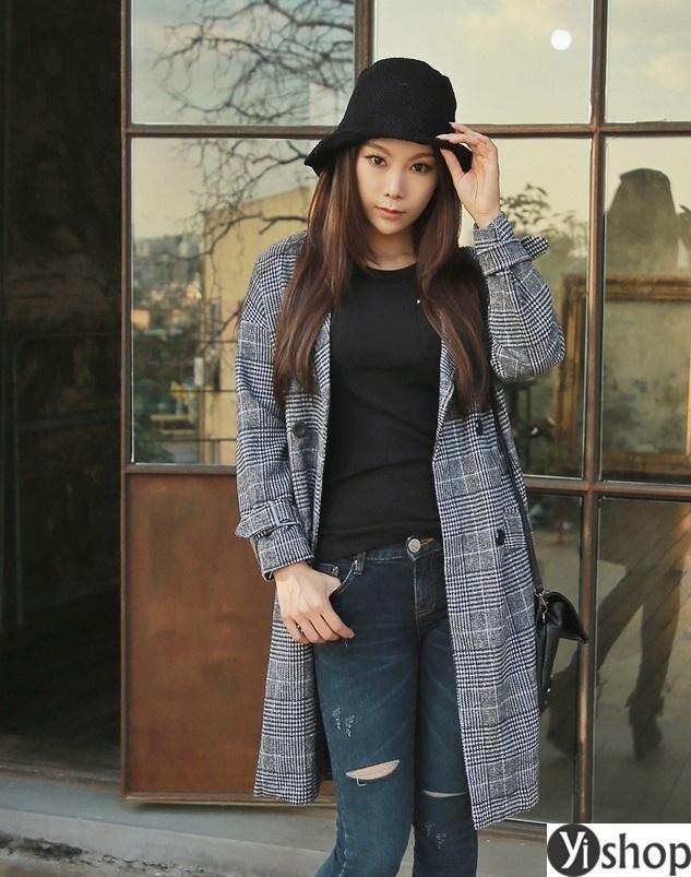 Áo khoác dạ nữ kẻ caro đẹp xu hướng thời trang công sở thu đông 2021 - 2022 phần 12