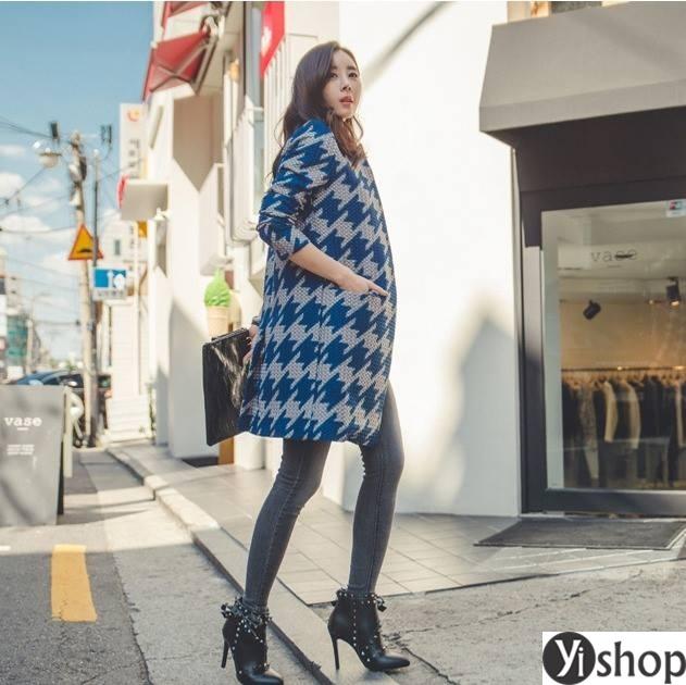 Áo khoác dạ nữ kẻ caro đẹp xu hướng thời trang công sở thu đông 2021 - 2022 phần 14