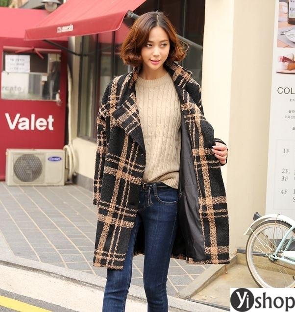 Áo khoác dạ nữ kẻ caro đẹp xu hướng thời trang công sở thu đông 2021 - 2022 phần 3