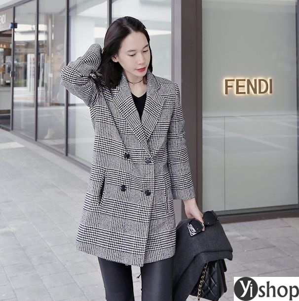 Áo khoác dạ nữ kẻ caro đẹp xu hướng thời trang công sở thu đông 2021 - 2022 phần 5