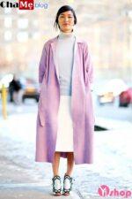 Áo khoác dạ nữ lông dáng dài màu pastel đẹp không lạnh đông 2021 – 2022