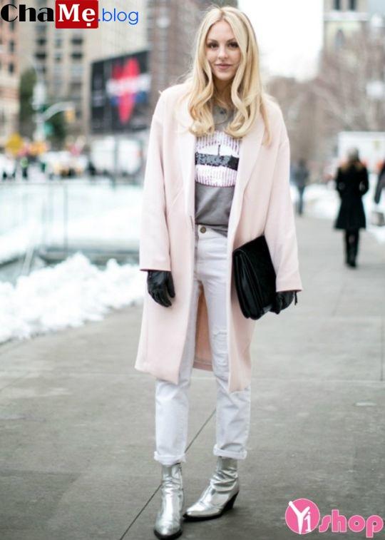 Áo khoác dạ nữ lông dáng dài màu pastel đẹp không lạnh đông 2021 - 2022
