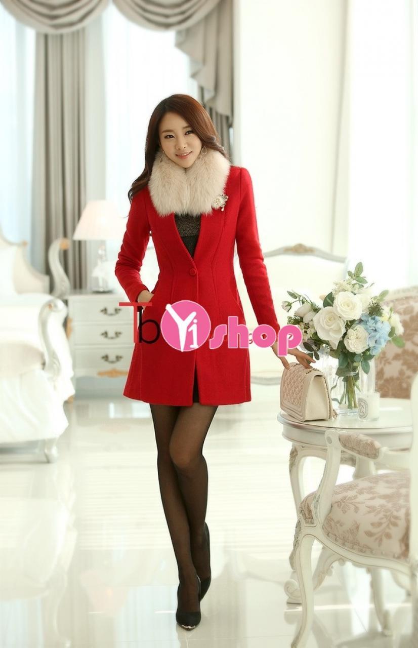 Áo khoác dạ nữ lông đỏ đẹp trẻ trung tới công sở thu đông 2019