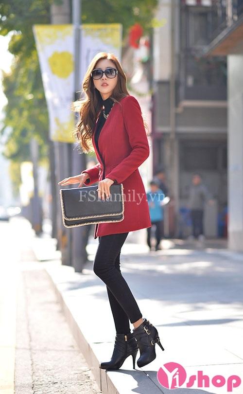 Áo khoác dạ nữ măng tô đẹp phong cách thanh lịch nhã nhặn thu đông 2019
