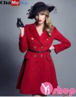 Áo khoác dạ nữ măng tô đỏ xòe đẹp cho nàng cao gầy đông 2021 – 2022