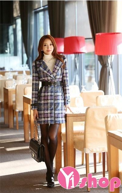 Áo khoác dạ nữ măng tô Hàn Quốc đẹp thu đông 2021 - 2022 ấm áp