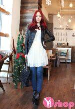 Áo khoác da nữ màu đen đẹp kiểu Hàn Quốc cá tính thu đông 2021 – 2022
