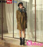 Áo khoác dạ nữ màu tối đẹp Hàn Quốc đông 2021 – 2022 quyến rũ ấm áp