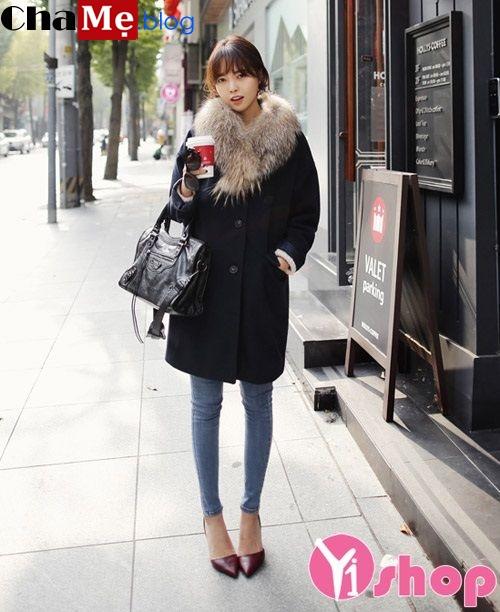 Áo khoác dạ nữ màu tối đẹp Hàn Quốc đông 2021 - 2022 quyến rũ ấm áp