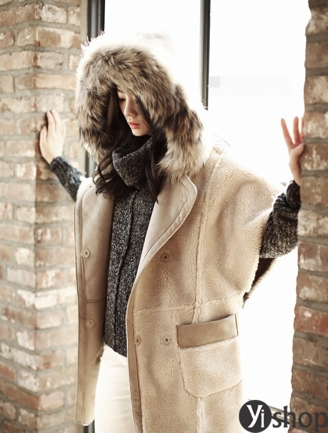 Áo khoác dạ nữ mũ lông thú đẹp thu đông 2021 - 2022 kiểu hàn quốc thời thượng phần 5