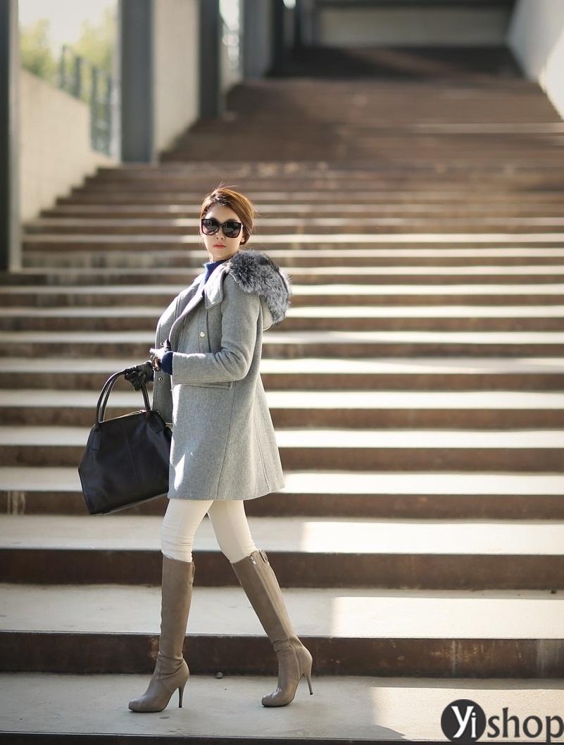 Áo khoác dạ nữ mũ lông thú đẹp thu đông 2021 - 2022 kiểu hàn quốc thời thượng phần 8