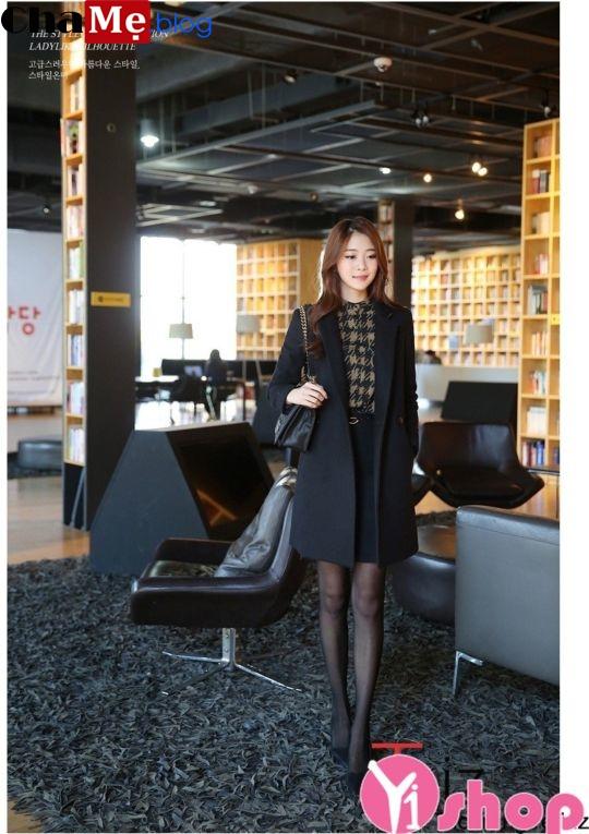 Áo khoác dạ nữ nỉ dáng blazer dài đẹp công sở tinh tế đông 2021 - 2022