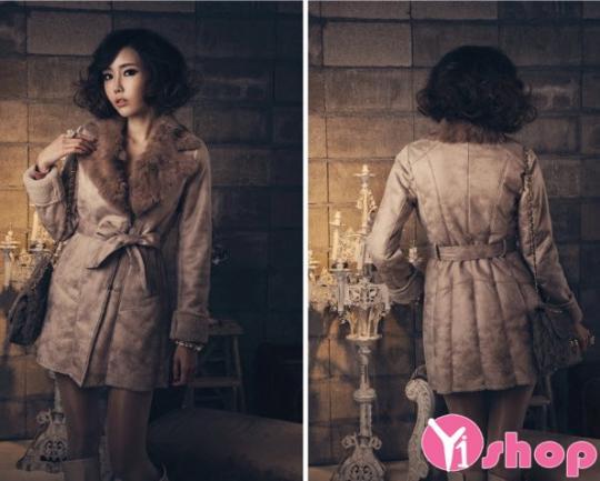 Áo khoác dạ nữ thắt lưng đẹp phong cách Hàn Quốc trẻ trung thu đông 2019