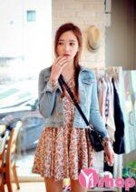Áo khoác denim nữ dáng ngắn đẹp thời trang Hàn Quốc thu đông 2021 – 2022