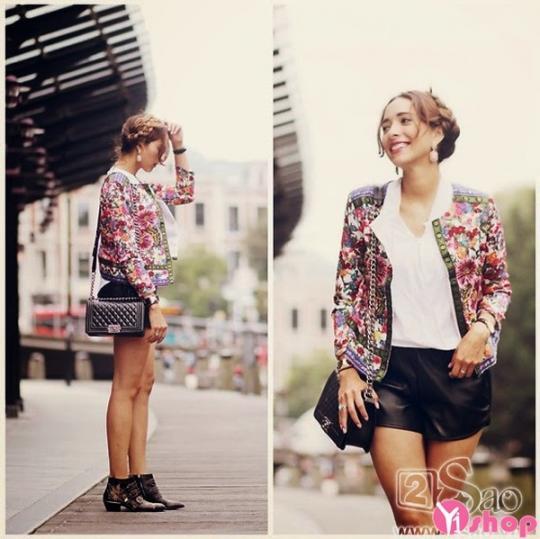 Áo khoác hoa nữ đẹp cho nàng năng động dạo phố thu đông 2021 - 2022
