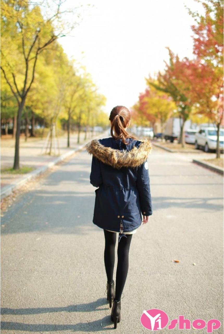 Áo khoác jacket nữ dáng dài đẹp màu bộ đội cá tính đông 2021 - 2022