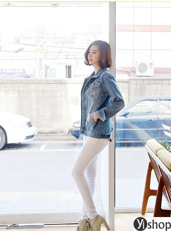 Áo khoác jean nữ hàn quốc đẹp thu đông 2021 - 2022 cho nàng xuống phố phần 12