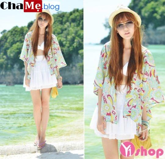 Áo khoác kimono nữ đẹp đi biển năng động thu đông 2021 - 2022