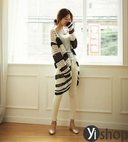 Áo khoác len nữ Hàn Quốc đẹp thu đông 2021 - 2022 xinh xắn ngày trở gió