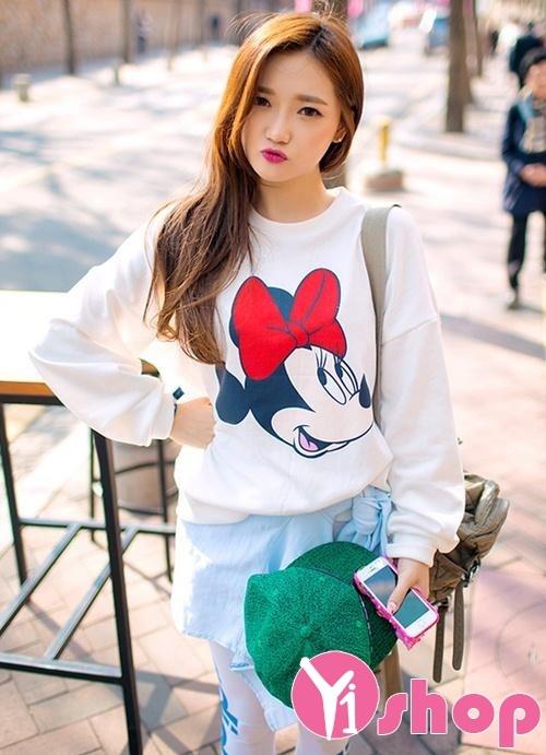 Áo khoác len nữ tay dài họa tiết đẹp kiểu Hàn Quốc trẻ trung ngày đông