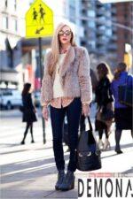 Áo khoác lông form dài nữ đẹp thời trang công sở thu đông 2021 – 2022
