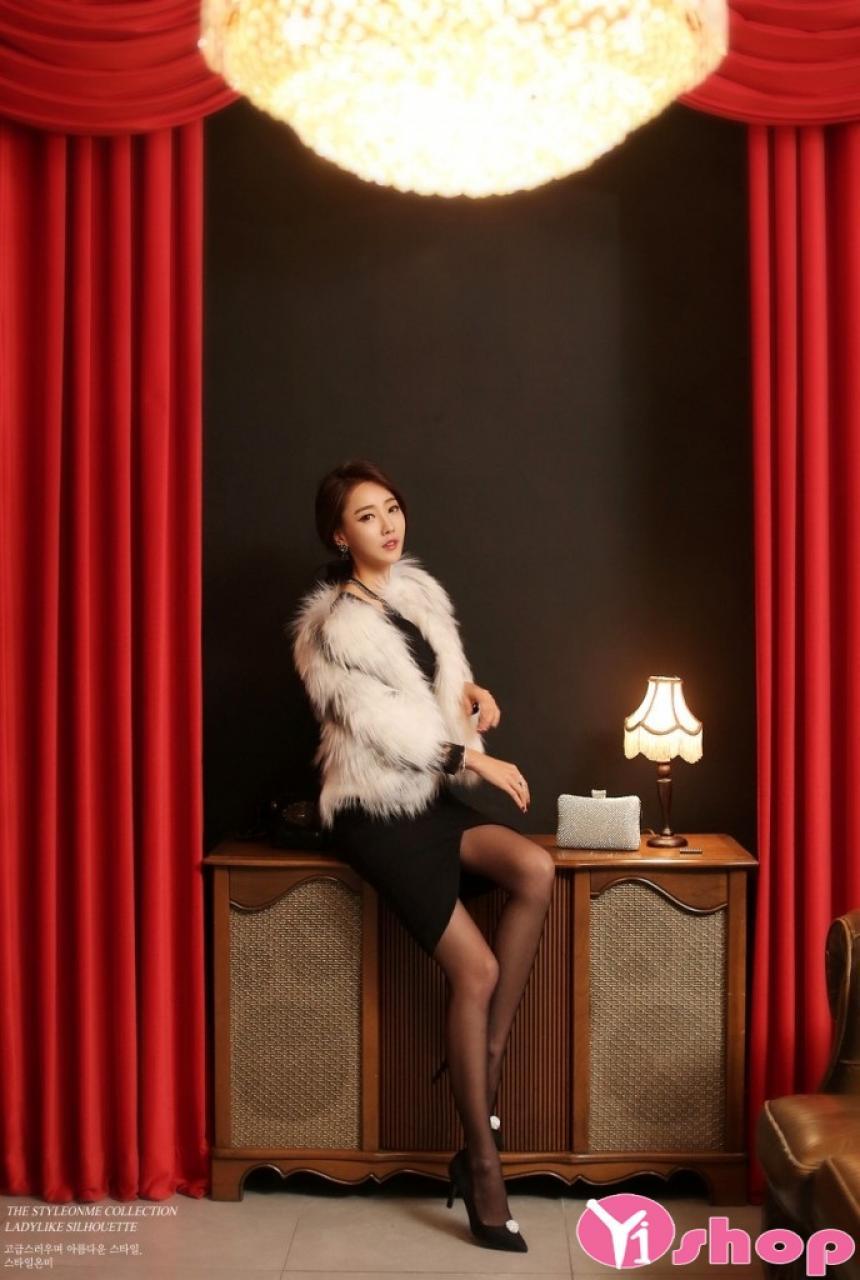 Áo khoác lông nữ dáng lửng đẹp kiểu Hàn Quốc sang trọng thu đông 2019
