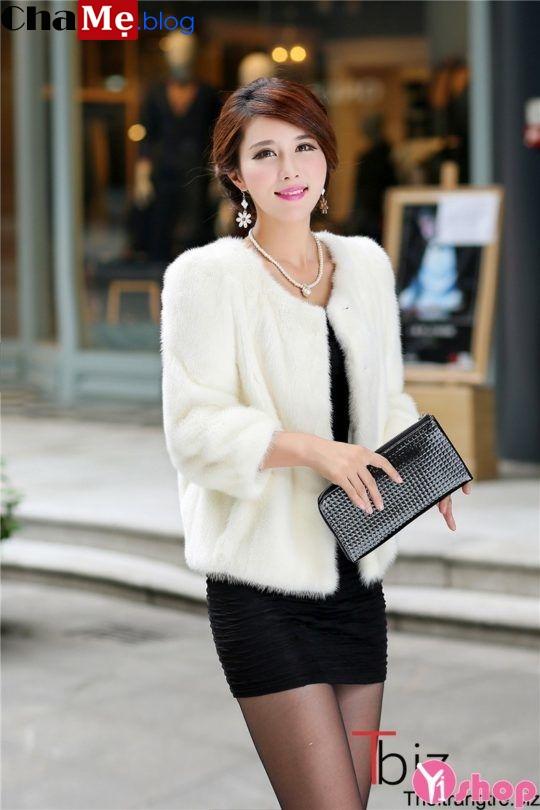 Áo khoác lông nữ dáng ngắn đẹp đông 2021 - 2022 ấm áp không lạnh