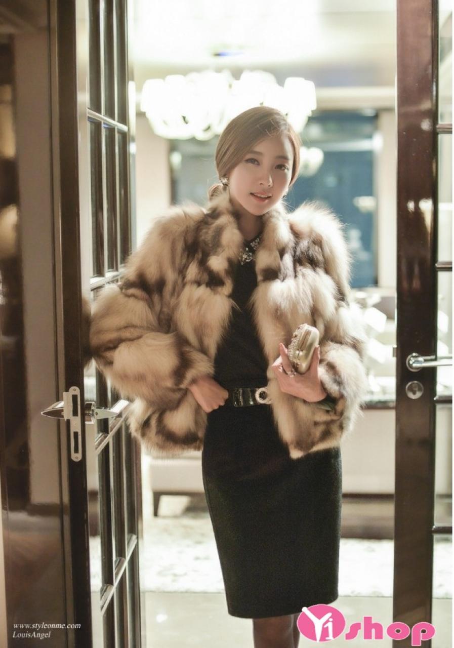 Áo khoác lông nữ dáng ngắn đẹp kiểu dáng công sở sang trọng thu đông 2019