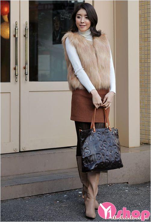 Áo khoác lông nữ dáng ngắn đẹp thời thượng không lạnh thu đông 2019