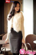 Áo khoác lông nữ đẹp đông 2021 – 2022 kiểu Hàn Quốc sang chảnh