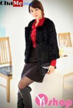 Áo khoác lông nữ đẹp sang trọng kiểu Hàn Quốc ấm áp đông 2021 – 2022
