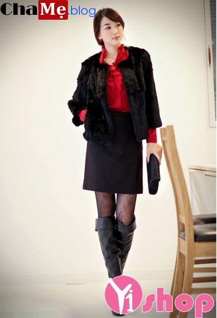 Áo khoác lông nữ đẹp sang trọng kiểu Hàn Quốc ấm áp đông 2021 - 2022