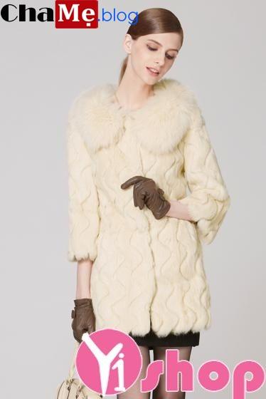 Áo khoác lông nữ đẹp sang trọng quý phái ấm áp đông 2021 - 2022