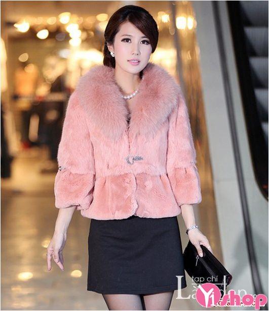 Áo khoác lông nữ màu hồng đẹp thu đông 2019 sang trọng quý phái