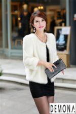 Áo khoác lông nữ màu trắng công sở đẹp thu đông 2021 – 2022 ấm áp