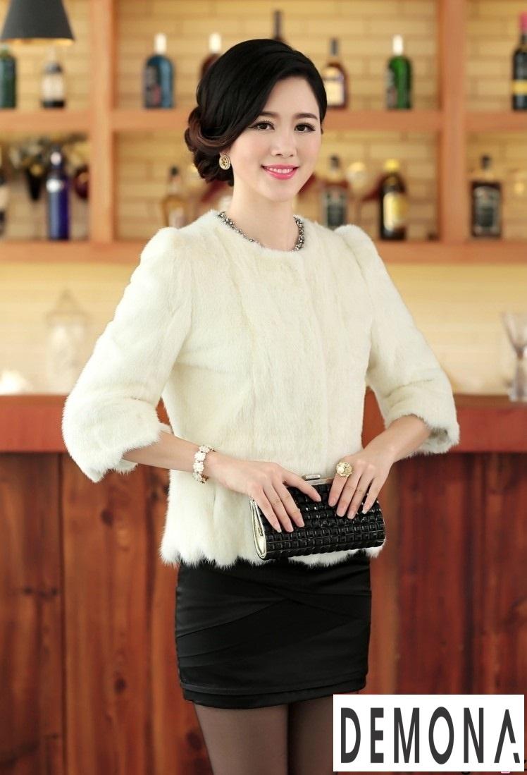 Áo khoác lông nữ màu trắng công sở đẹp thu đông 2019 – 2021 ấm áp phần 4