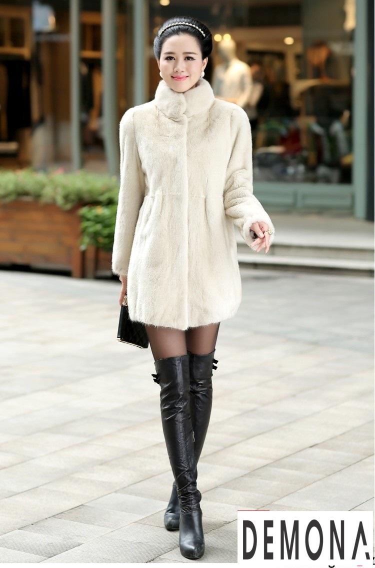 Áo khoác lông nữ màu trắng công sở đẹp thu đông 2019 – 2021 ấm áp phần 5
