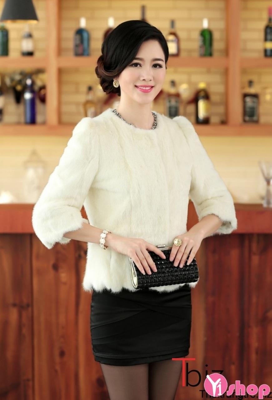 Áo khoác lông nữ màu trắng đẹp quý phái sang trọng đi dự tiệc thu đông 2019