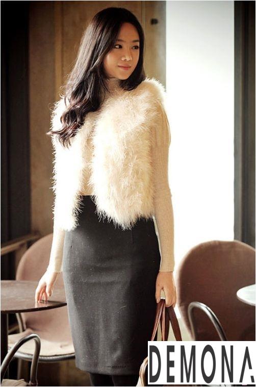 Áo khoác lông nữ trắng đẹp thu đông 2019 – 2021 thanh lịch ấm áp phần 2