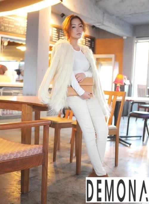 Áo khoác lông nữ trắng đẹp thu đông 2019 – 2021 thanh lịch ấm áp phần 3