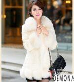 Áo khoác lông trắng nữ đẹp thu đông 2021 – 2022 duyên dáng ấm áp