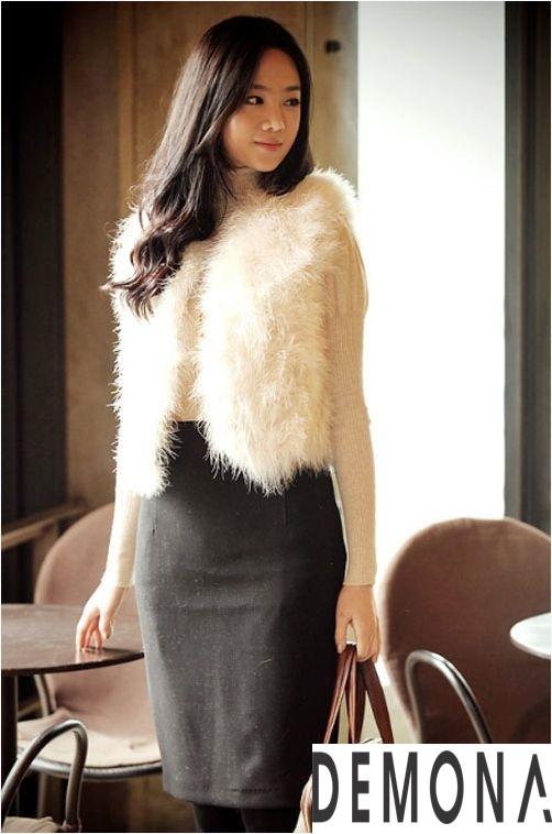 Áo khoác lông trắng nữ đẹp thu đông 2019 – 2021 duyên dáng ấm áp phần 13